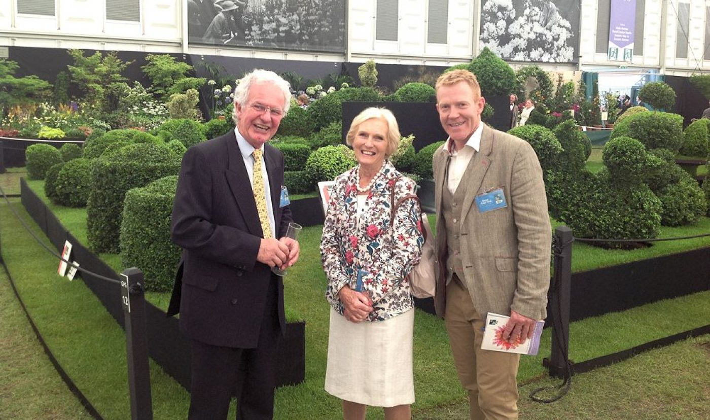 Topiary Arts stand with James, Mary Berry & Adam Henson