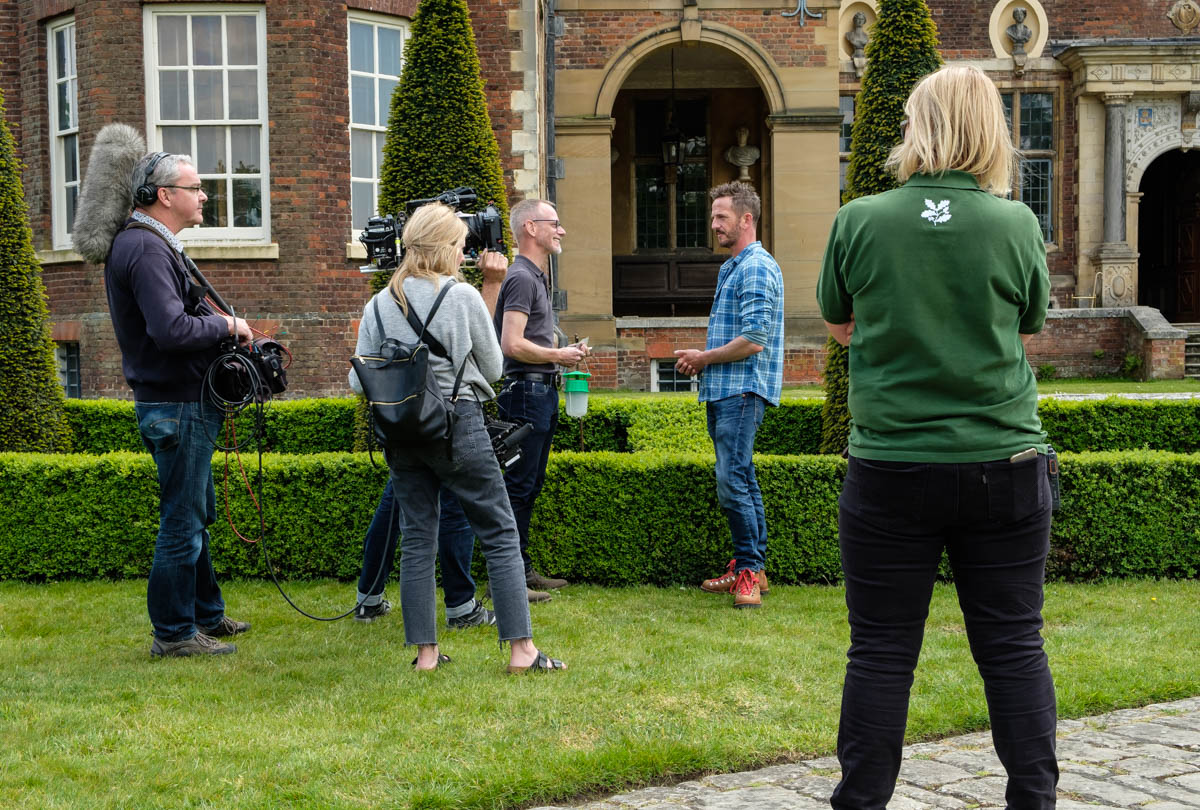 Nick Bailey & Chris Poole being filmed © National Trust / Chris Davies