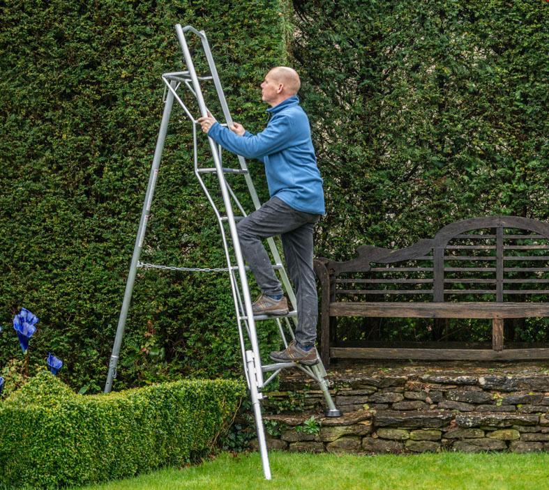 Tripod ladder in use